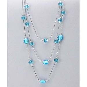 Tri-Layer Blue Glass Crystal Necklace